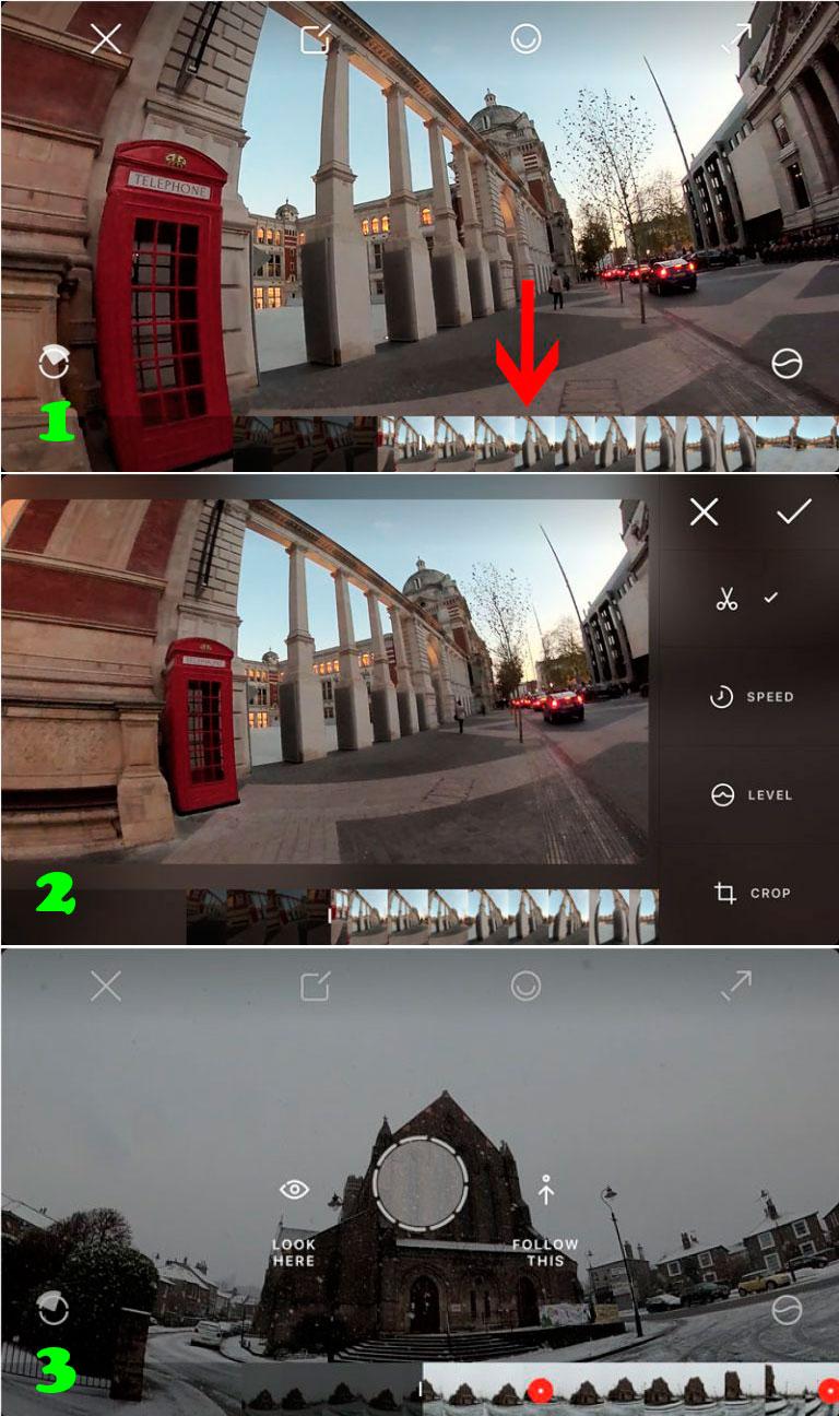 Вырезать плоское видео с камеры Rylo 360